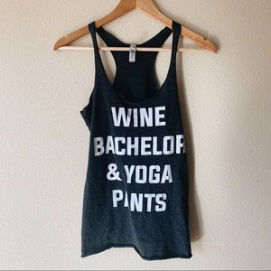 Wine & bachelor graphic tank